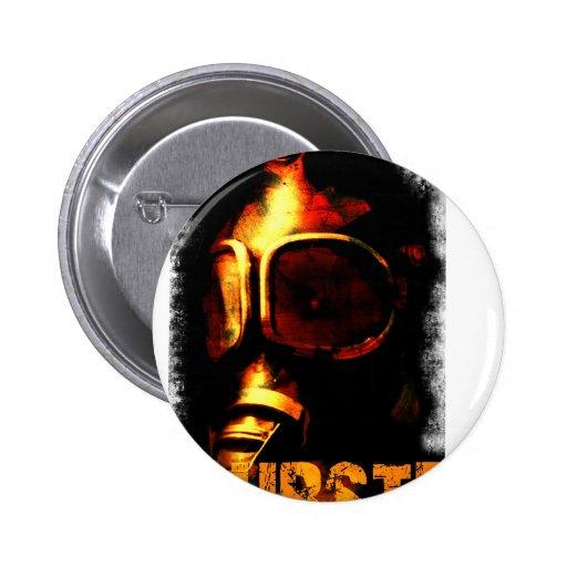Dubstep orange Gasmaske Button