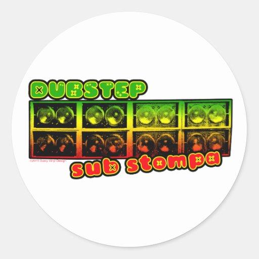 DUBSTEP Reggae-Tollpatschaufkleber Runder Sticker