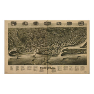Dubuque Iowa 1889 antike panoramische Karte Poster