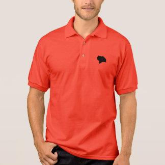 Duckende schwarze Katzen-Silhouette Polo Shirt