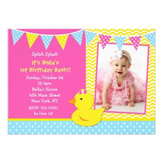 Ducky Enten-Foto-Geburtstags-GummiParty Einladunge Personalisierte Ankündigungskarte