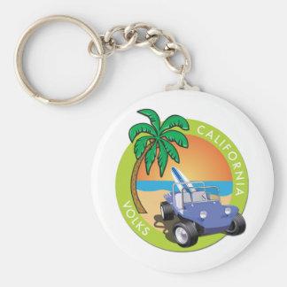 Dünen-Buggy Kaliforniens Volks mit Palmen Schlüsselanhänger