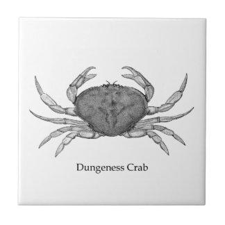 Dungeness Krabben-Logo (Linie Kunst) Keramikfliese