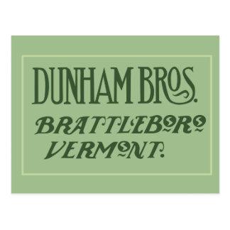 Dunham Bros. Brattleboro, VT-Postkarte Postkarte