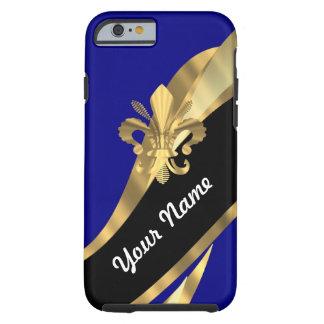 Dunkelblau u. gold Fleur de Lys Tough iPhone 6 Hülle