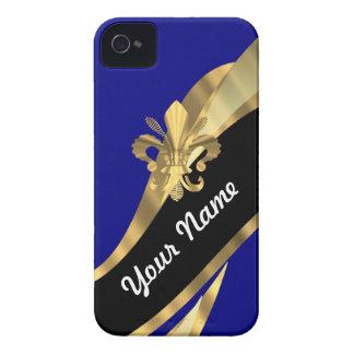 Dunkelblau u gold Fleur de Lys Case-Mate iPhone 4 Hülle