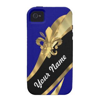 Dunkelblau u gold Fleur de Lys Vibe iPhone 4 Hülle