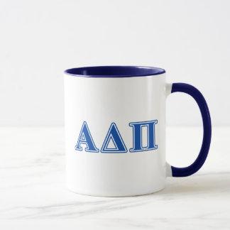 Dunkelblaue Buchstaben Alphadeltapus Tasse