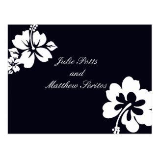 Dunkelblaue Hibiskus-Hochzeits-Einladung Postkarte