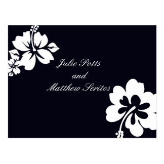 Dunkelblaue Hibiskus-Hochzeits-Einladung Postkarten