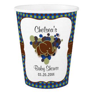 Dunkelblaue u. des Brown-Baby-Elefant-| Babyparty Pappbecher