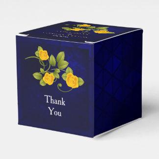 Dunkelblaue und Ringelblumen-gelbe Geschenkschachtel