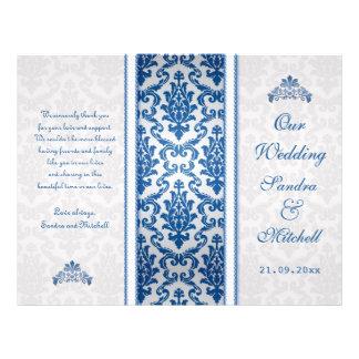 Dunkelblauer Damast auf silberne Hochzeits-Program Flyerbedruckung
