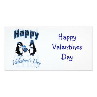 Dunkelblauer Penguin-glücklicher Valentinstag Photokarte