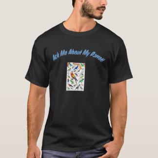 """Dunkelblauer Text """"fragen mich über meinen T-Shirt"""