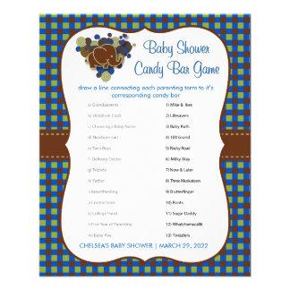 Dunkelblaues u. Brown-Elefant-Baby-Duschen-Spiel Flyer
