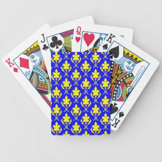 Dunkelblaues und gelbes verziertes Tapeten-Muster Bicycle Spielkarten