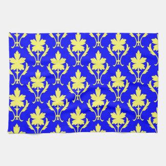 Dunkelblaues und gelbes verziertes Tapeten-Muster Handtuch