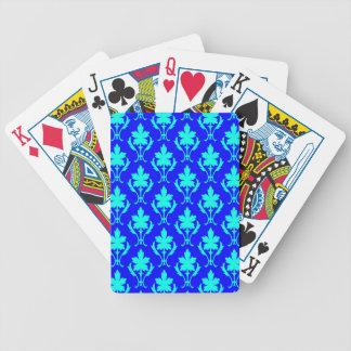 Dunkelblaues und hellblaues verziertes bicycle spielkarten