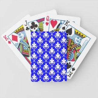 Dunkelblaues und weißes verziertes Tapeten-Muster Bicycle Spielkarten