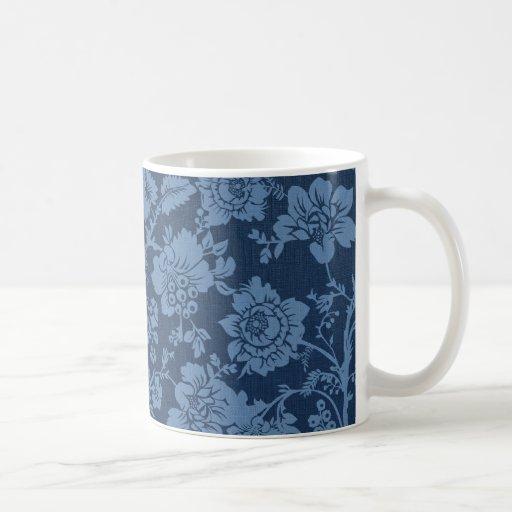 Dunkelblaues Vintages Blumen Tee Tasse