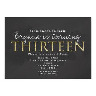 Dunkelgrau u. Gold 13. 13 Geburtstags-Party 12,7 X 17,8 Cm Einladungskarte