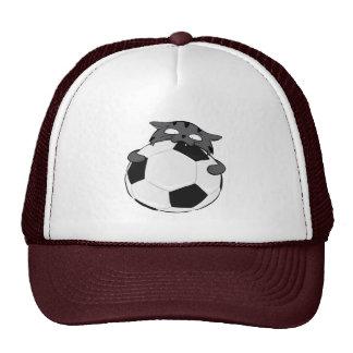 Dunkelgraue Fußball-Katze Baseball Caps