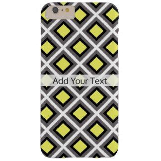 Dunkelgraue, schwarze, gelbe Ikat Diamanten durch Barely There iPhone 6 Plus Hülle