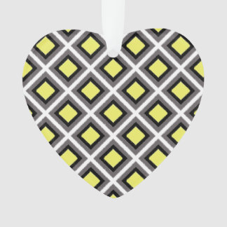 Dunkelgraue, schwarze, gelbe Ikat Diamanten durch Ornament