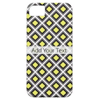 Dunkelgraue, schwarze, gelbe Ikat Diamanten durch Schutzhülle Fürs iPhone 5