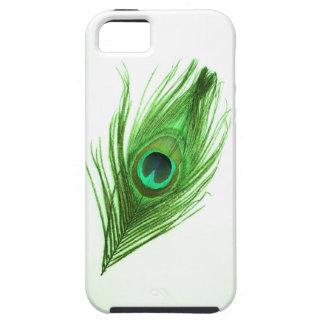 Dunkelgrün auf weißem Pfau-Feder iPhone 5 Kasten Tough iPhone 5 Hülle