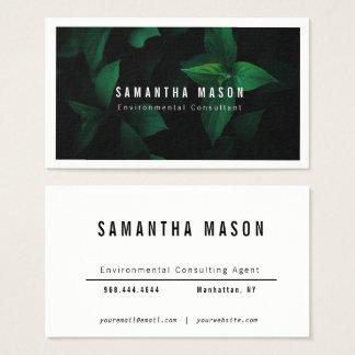 Dunkelgrüne Blatt-Hintergrund-Visitenkarte Visitenkarte