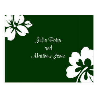 Dunkelgrüne Hibiskus-Hochzeits-Einladung Postkarte