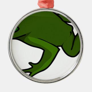 Dunkelgrüner Frosch Silbernes Ornament