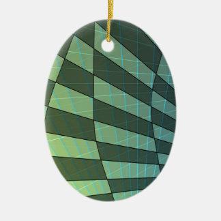Dunkelgrüner karierter Entwurf mit linearen Keramik Ornament