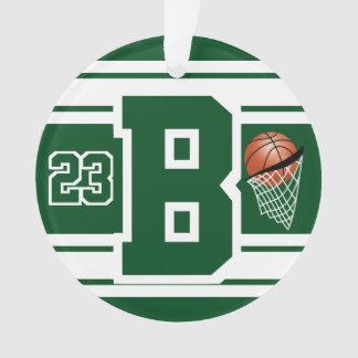 Dunkelgrüner und weißer Basketball-Buchstabe u. Ornament