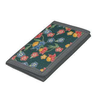 Dunkelgrünes indonesisches Blumenreben Batikmuster