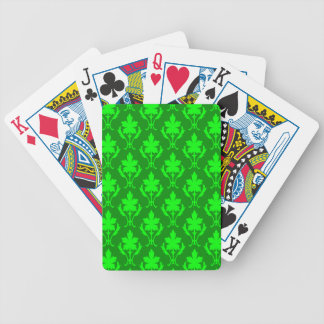 Dunkelgrünes u. hellgrünes verziertes bicycle spielkarten