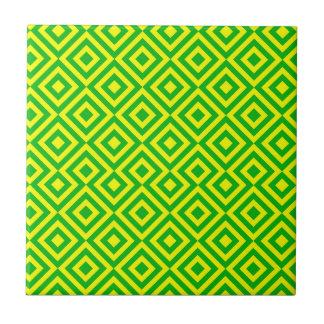 Dunkelgrünes und gelbes Muster des Quadrat-001 Keramikfliese