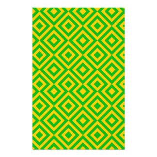 Dunkelgrünes und orange Muster des Quadrat-001 Personalisierte Druckpapiere