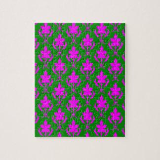 Dunkelgrünes und rosa verziertes Tapeten-Muster Puzzle