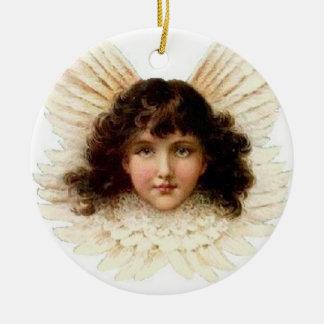 Dunkelhaariger Engel - Verzierung Rundes Keramik Ornament