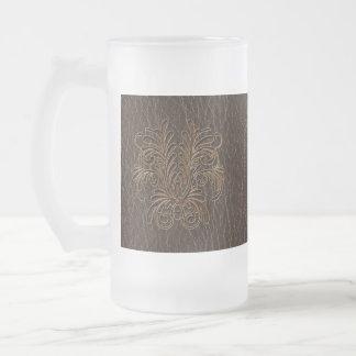 Dunkelheit Leder-Blick Blumenstrauß-1 Mattglas Bierglas
