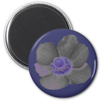 Dunkelheit träumt Anemonen-Blumen-Magneten Runder Magnet 5,7 Cm