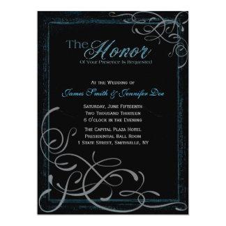 Dunkelheits-glühende blaue Eleganz-Einladung Karte