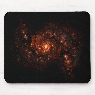 Dunkelorangefarbiges Galaxie-Fraktal Mousepad