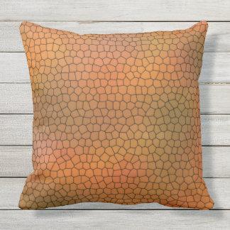 Dunkelorangefarbiges Mosaik-Muster-Wurfs-Kissen Kissen