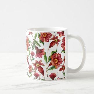 Dunkelrote Blumen Kaffeetasse