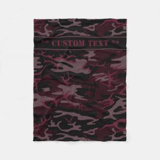 Dunkelrote Camouflage mit kundenspezifischem Text Fleecedecke