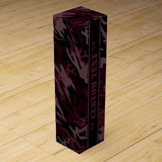 Dunkelrote Camouflage mit kundenspezifischem Text Wein-Geschenkverpackung